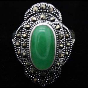 Size 10 natural malachite and marcasite in silver